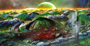 The landscape of a distant planet .