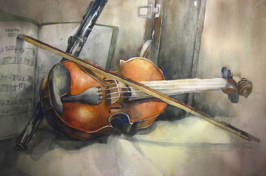 Watercolor Violin By Sheng120