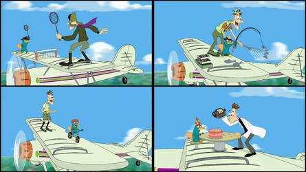 The Perry and Doofenshmirtz Biplane Scenes by jaycasey