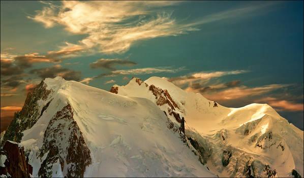 Sunset on the Mont Blanc summit