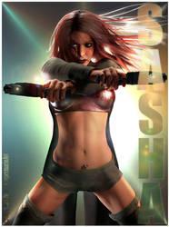 Sasha Two Guns by supermarioART