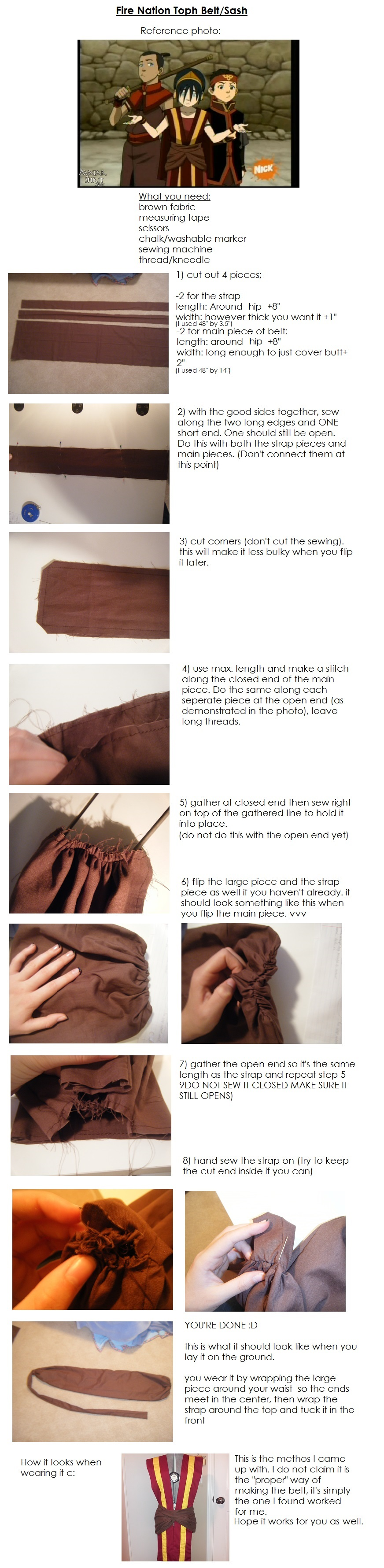 Fire Nation Toph Belt Tutorial by THISxISxMYxNAME