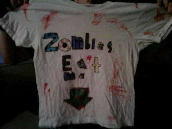 zombies eat me t shirt by nailguy101
