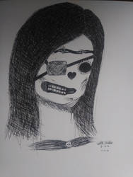 Skeletal Girl Pen Drawing by iamanimegirl12