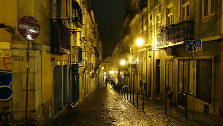 Lisbon night street by mik-photo