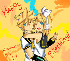 Happy Birthday Kagamine Rin.Len by FirecoreArt