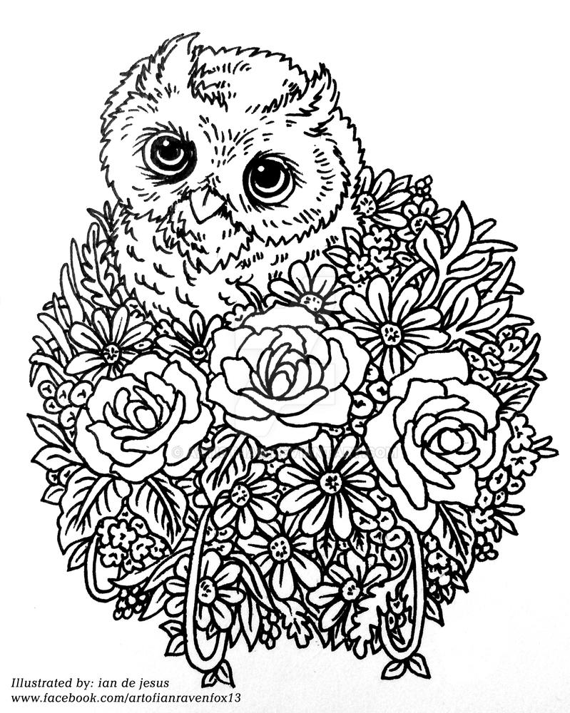 Owl pops in a Bouquet 110515 doodle by Artist-ian