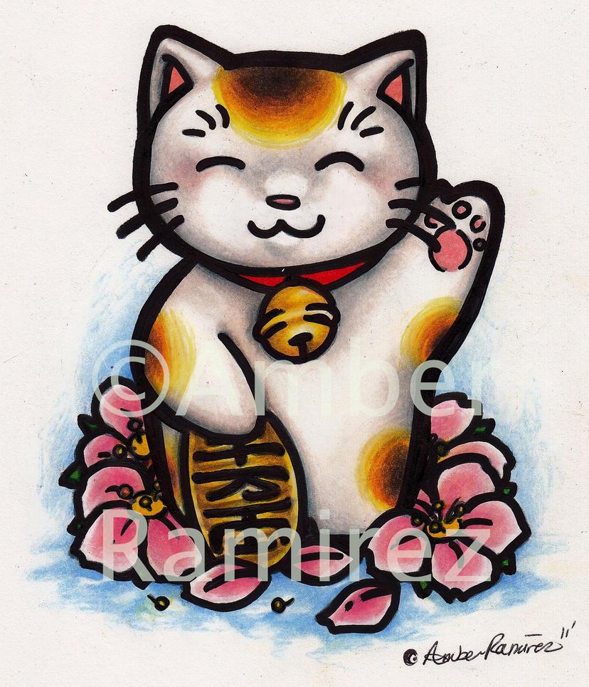 good fortune cat painting