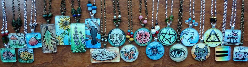 Watercolor Glass Tile Necklaces! by Flos-Abysmi