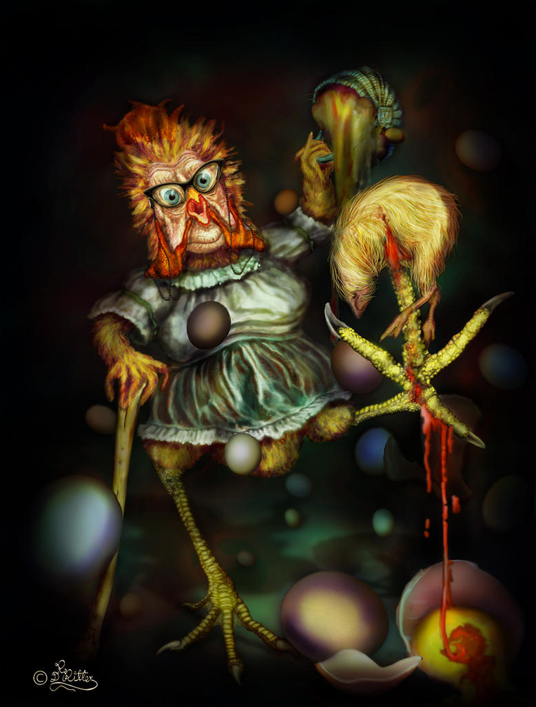 Crazy Killer Chicken _Digital Panting-Illustration by DagmarReneeRITTER