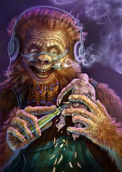 Bigfoot Is Carving A Self Portrait