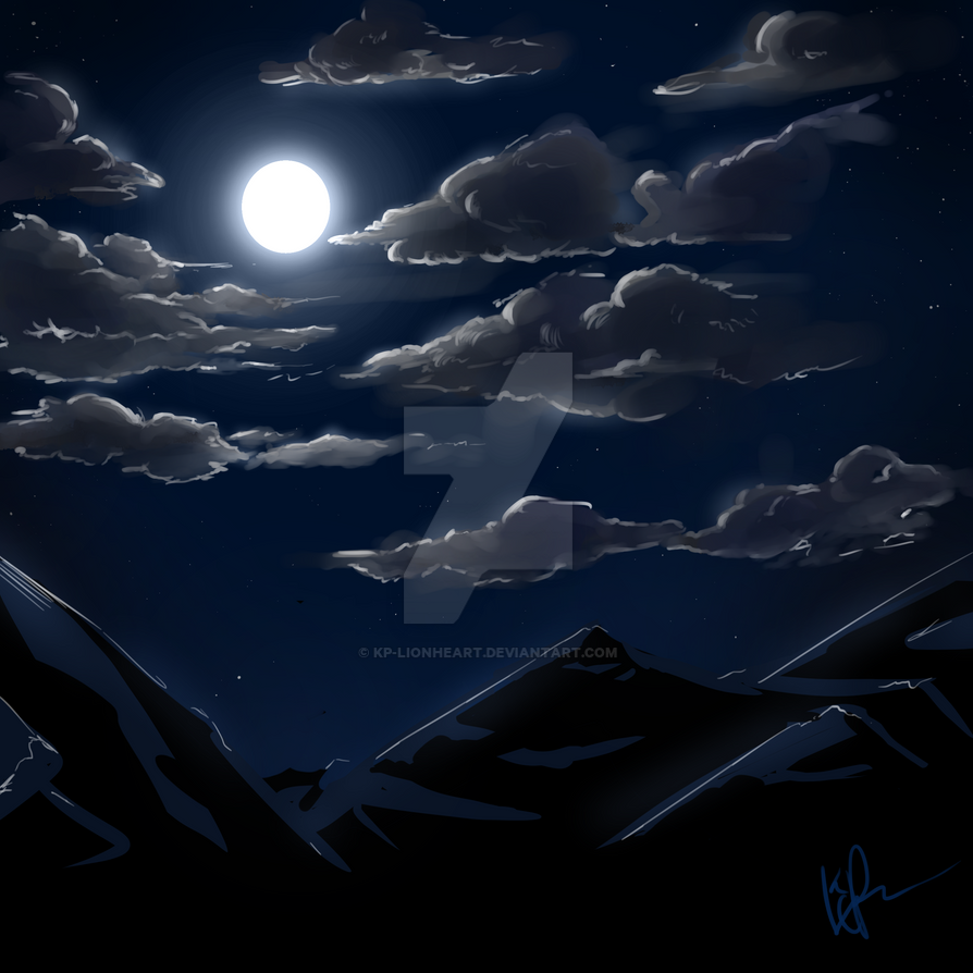 Nighttime Mountain Scape by KP-Lionheart