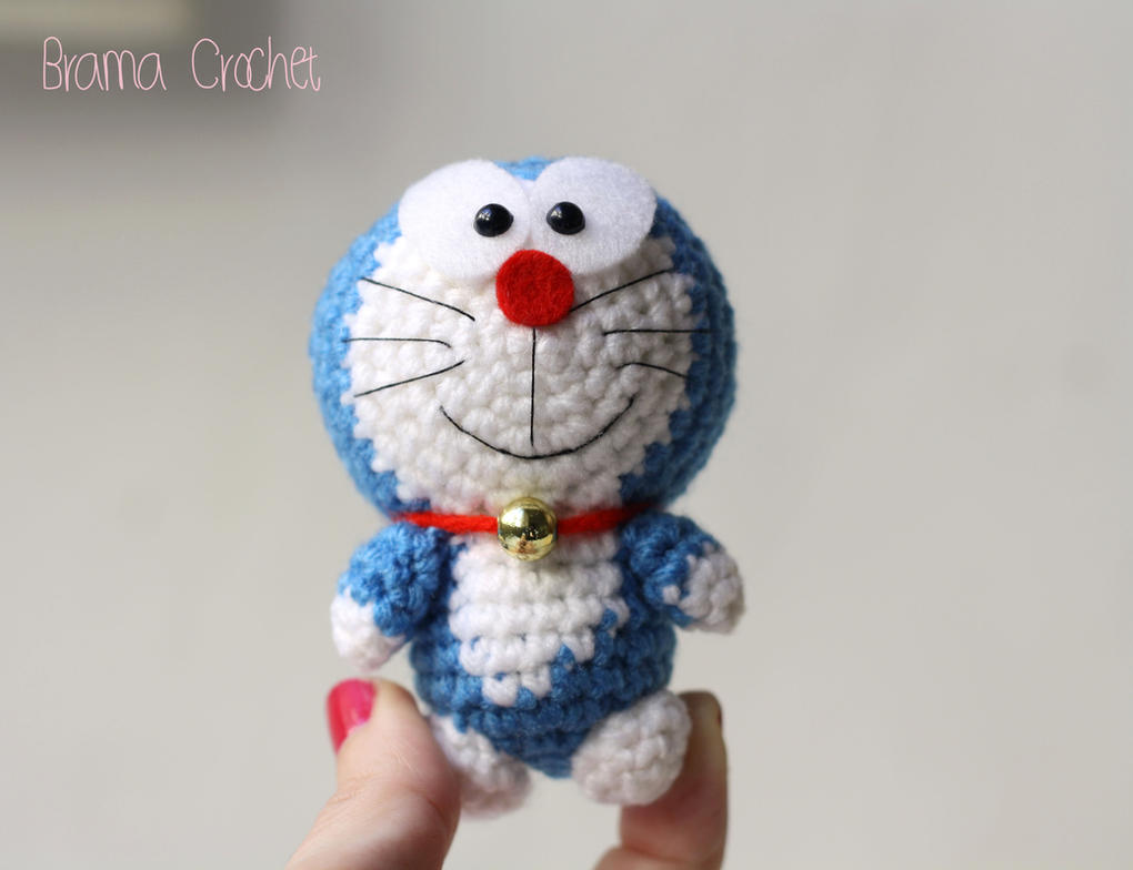 Crochet Doraemon Amigurumi : Tiny doraemon amigurumi crochet doll plush by