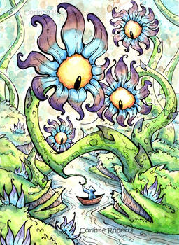 Traveler in a Boat meets Flower