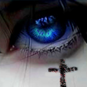 blue eye and strange cross by jiik29