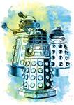 Dalek Watercolor Mixed Media Digital Painting