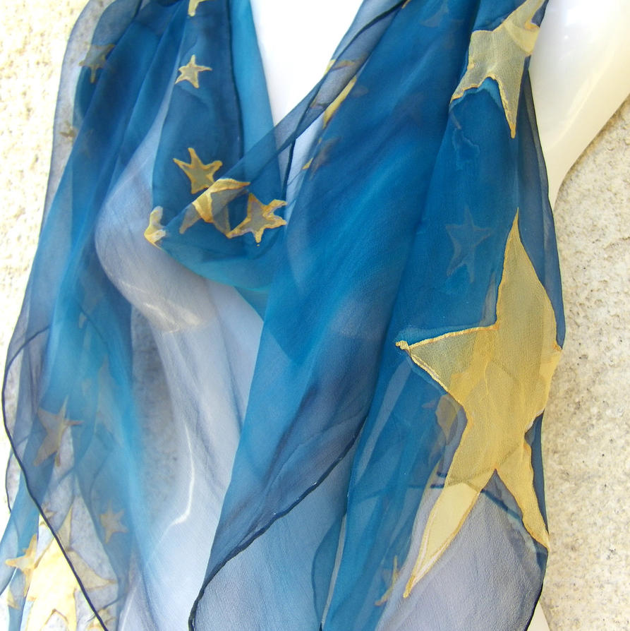 Stars Midnight Blue Handpainted Silk Scarf by silkshop on deviantART Watercolor Hand Painted Silk Scarves