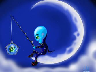 megamind fishing on the moon by MarAlmok