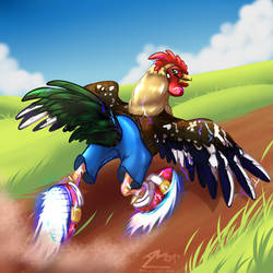 gotta go fast rooster with shoes