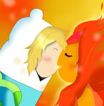 Finn and Flame Princess kiss!