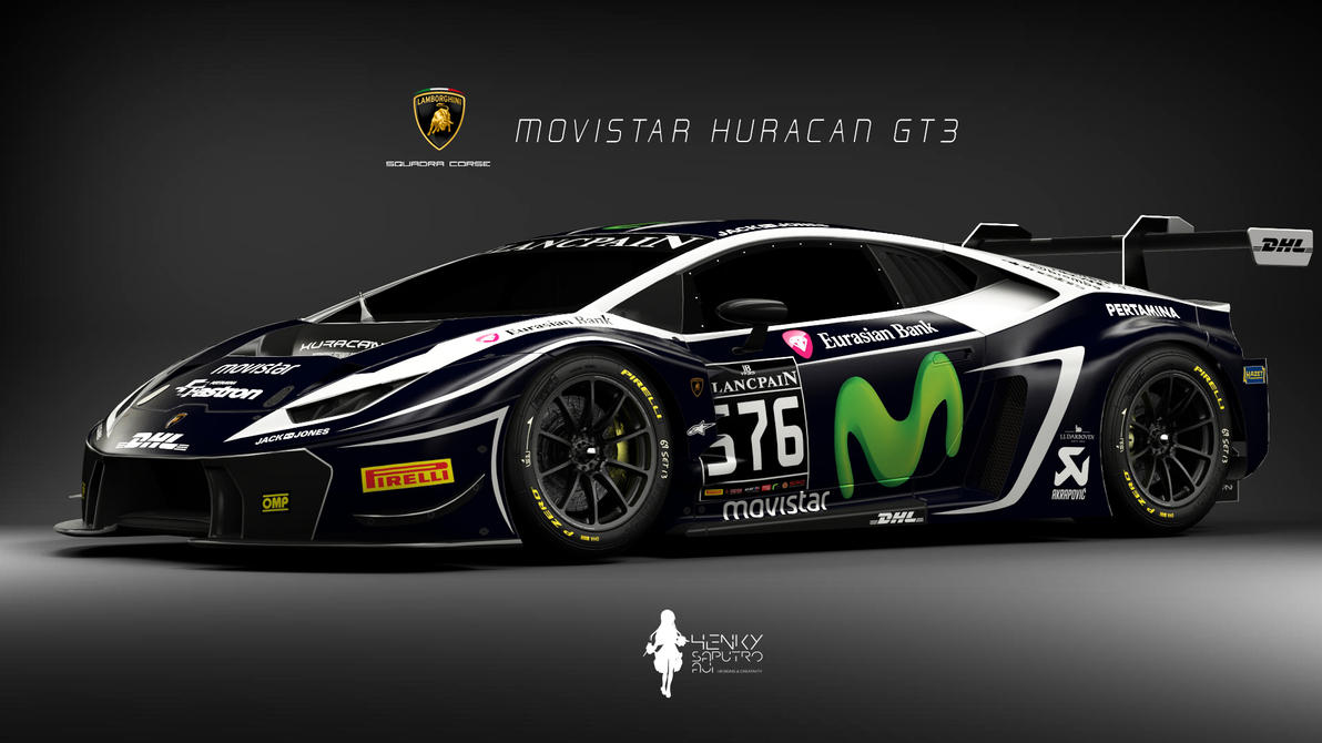 lamborghini huracan gt3 movistar livery by henkysa on. Black Bedroom Furniture Sets. Home Design Ideas