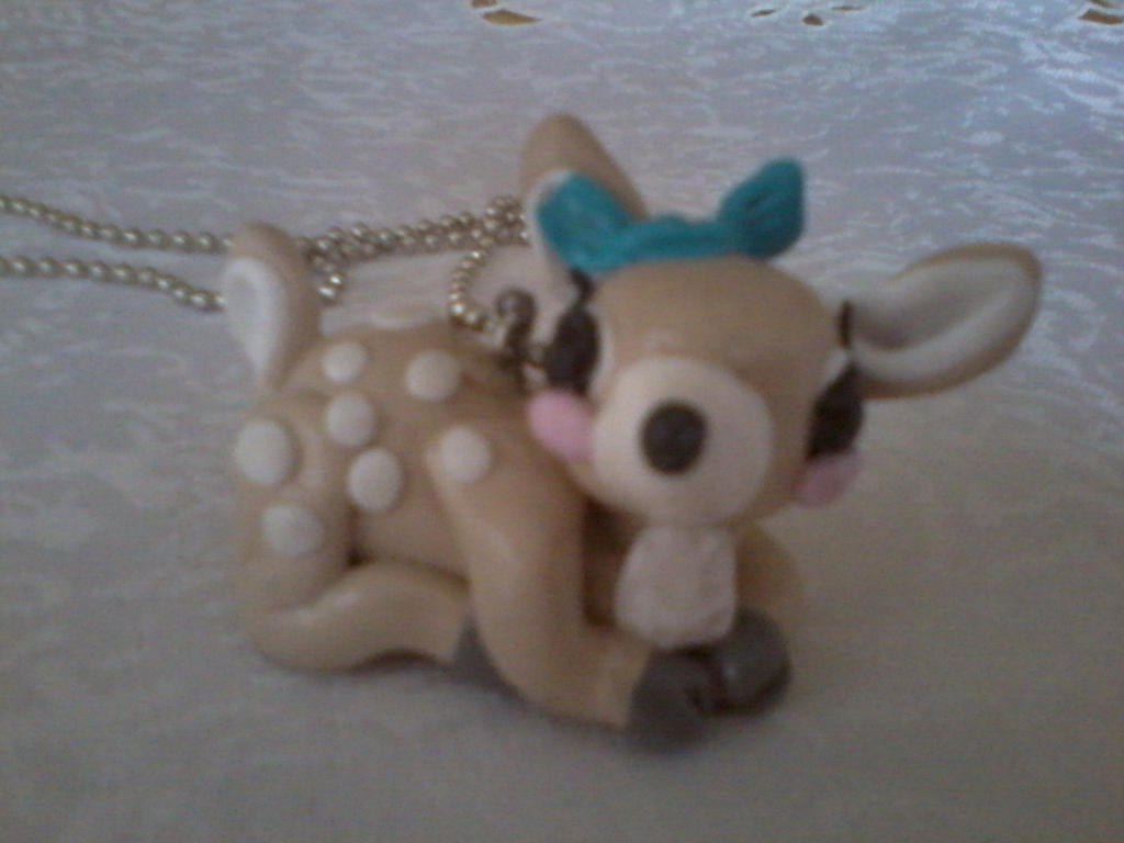 Hand Made Polymer Clay Fawn Pendant by kkperson