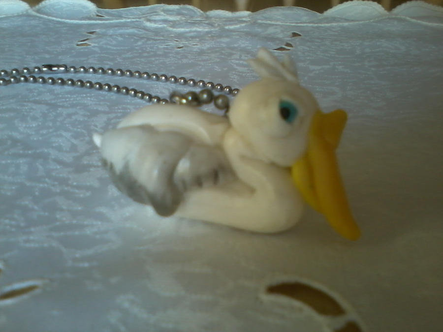 Hand Made Polymer Clay Pelican Pendant by kkperson