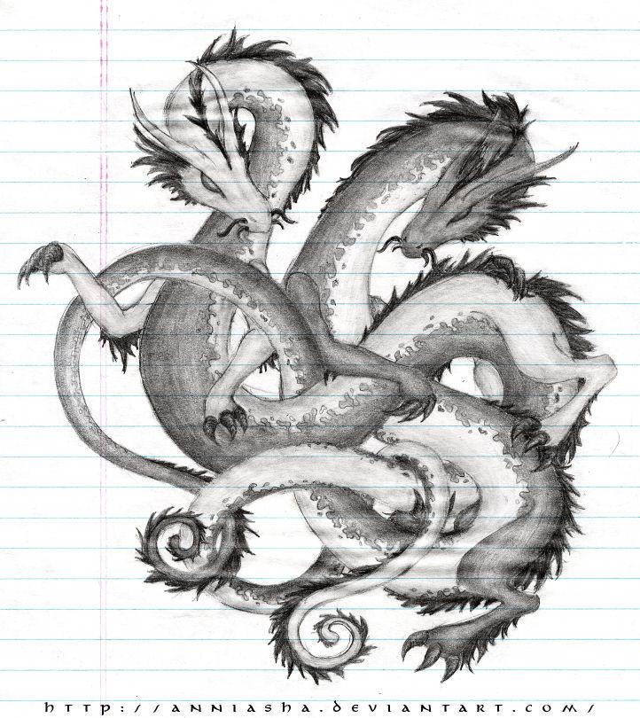 Twin Dragons -graphite- by Anniasha