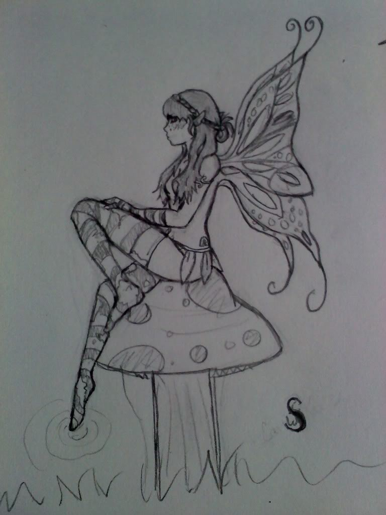 Fairy on mushroom by darkdelila1 on deviantart for Fairy on a mushroom drawing