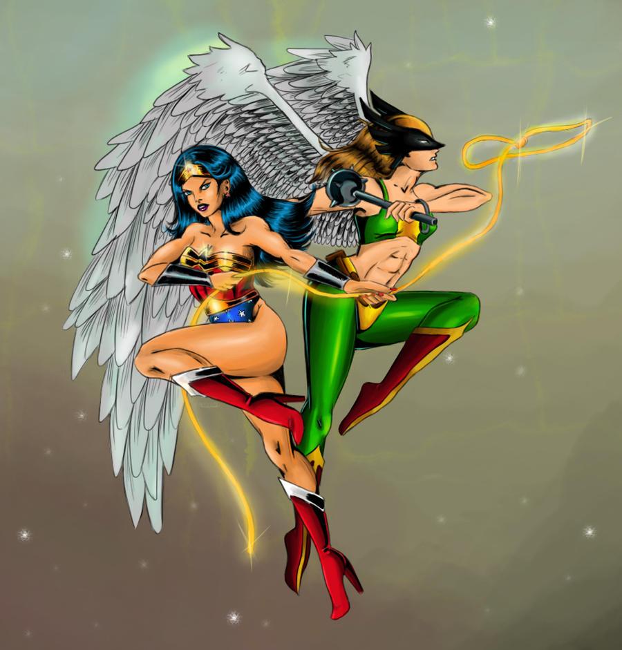 Supergirl and wonder woman hawkgirl