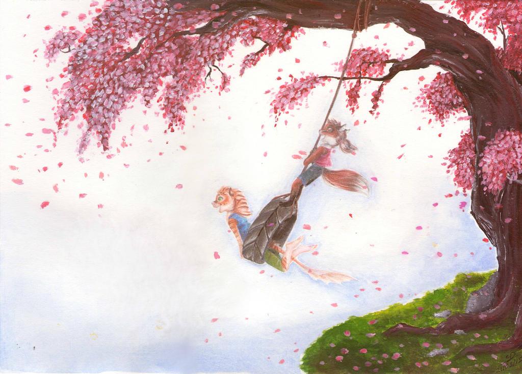Cherryblossom swing by Spark-Dragon