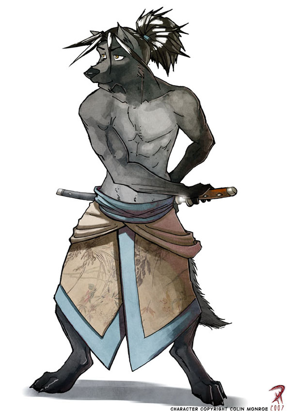 Wolf Anthro Warrior Anthro Wolf Ronin Commission