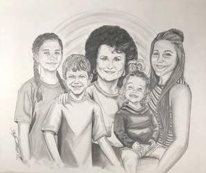 Family portrait grandmother and grandchildren