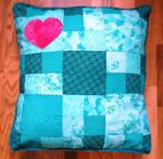Green Mint heart Cushion Coussin Coeur Vert Menthe