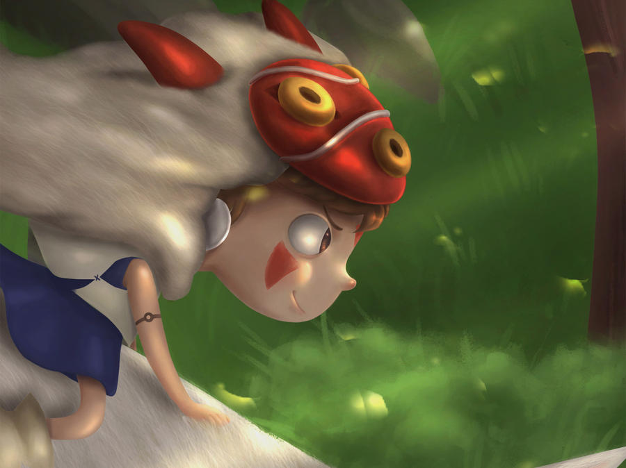 Mononoke Hime close up by Blackbell93