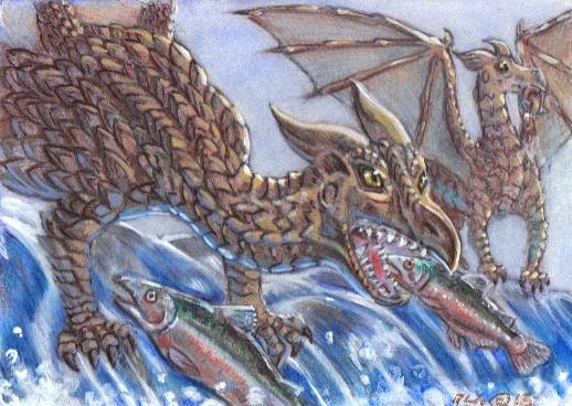 Salmon Fishing Dragons by LEXLOTHOR