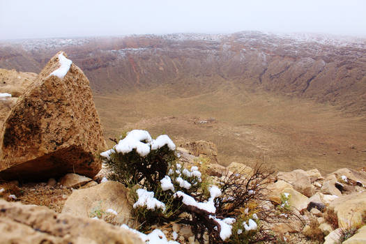 Meteor Crater Shrouded in Snow