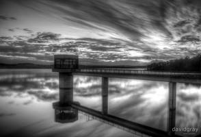 Blue Rock Dam - Black and White by Grayda