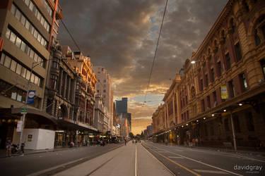 Flinders Street at Sunrise by Grayda