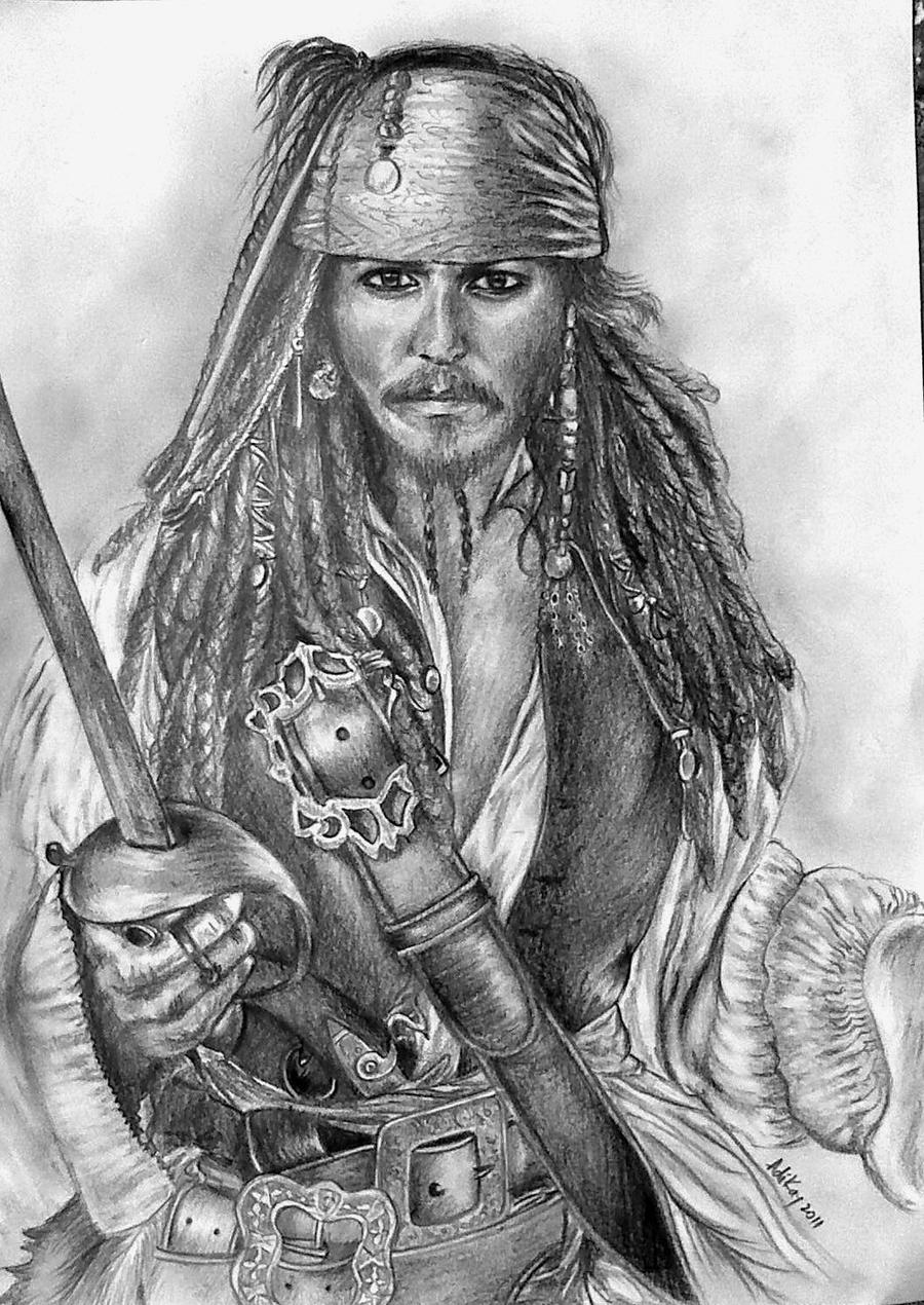 how to draw cartoon jack sparrow