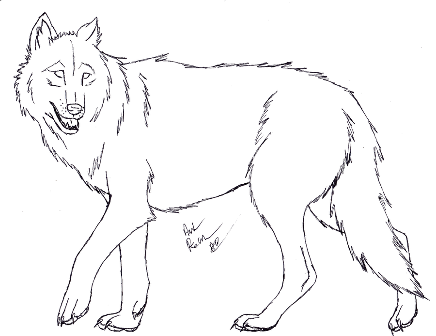 Wolf Lineart : The gallery for gt sitting wolf lineart ms paint