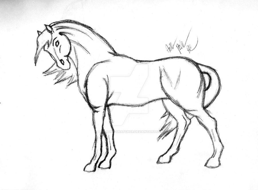 Horse Sketch By The-Bone-Snatcher On DeviantArt