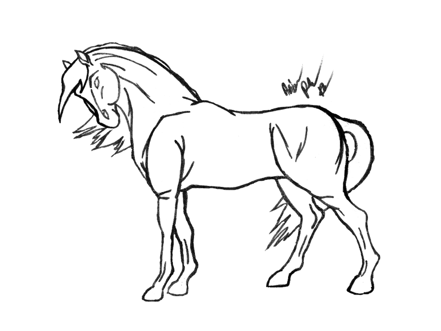 Line Drawing Horse : Horse line art free by the bone snatcher on deviantart