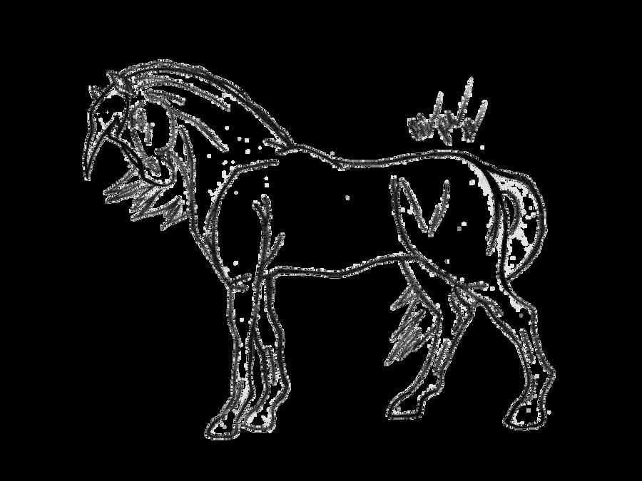Simple Horse Lineart : Horse line art free by the bone snatcher on deviantart