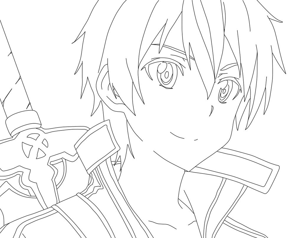 Kirito Lineart : Kirito line art by justaweirdgirl on deviantart