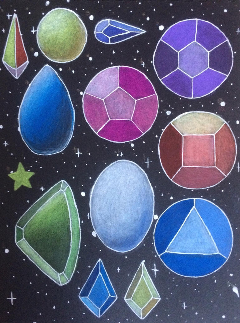These are some of the gems from Steven Universe, including Pearl, Amethyst, Ruby, Sapphire, Rose Quartz, Peridot, Lapis Lazuli, Jasper, Blue Diamond, Yellow Diamond, Yellow Pearl, and Holly Blue.