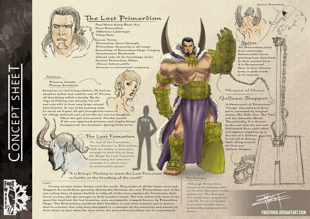 Concept Sheet: The Last Primordian by FrostLlamzon on DeviantArt