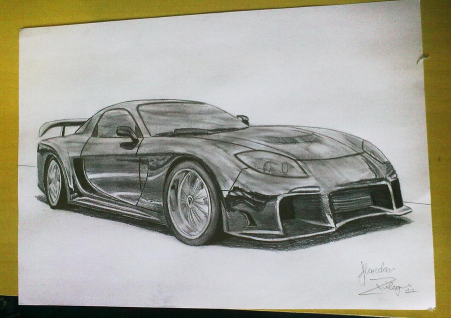 It is a picture of Wild Mazda Rx7 Drawing