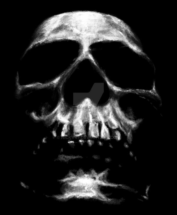 SKULL ON BLACK by nickv47