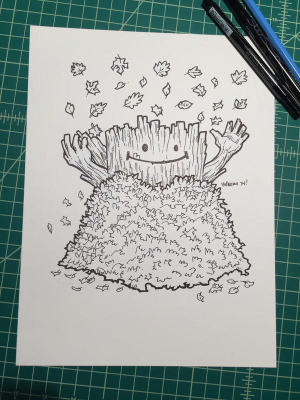 Inktober 15: Leafpile Log by nickv47